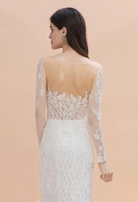 Long Sleeve Jewel Applique A Line Lace Wedding Dresses_9