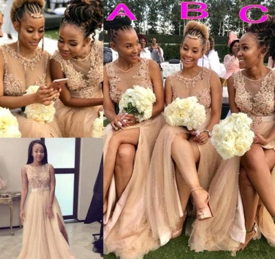 Champagne Jewel Applique Pearls A Line Bridesmaid Dresses For Wedding_4