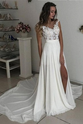 Classy Long A-line Chiffon Lace V-neck Side Slit Wedding Dress with Cap sleeves