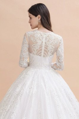 Long Sleeve Jewel Applique A Line Wedding Dresses | Crystal Wedding Gown_9