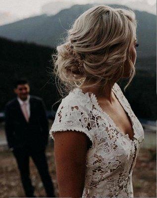 Elegant Cap Sleeve Lace Mermaid Wedding Dresses | Backless wedding Gown_2