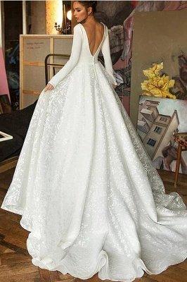 A-line V-neck Satin Backless Lace Long Sleeve Wedding Dress_3