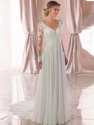 Romantic A-Line V Neck Chiffon Long Sleeve Wedding Dresses with Chapel Train_1