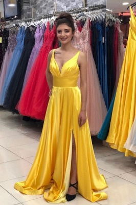 Simple Long A-line V-neck Sleeveless Backless Prom Dress with Slit