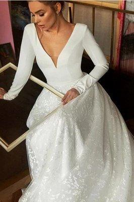 A-line V-neck Satin Backless Lace Long Sleeve Wedding Dress_4