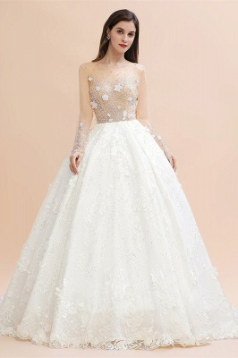 Long Sleeve Jewel Floral A Line Wedding Dresses | Crystal Beading Bridal Gown