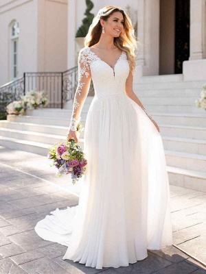 Romantic A-Line V Neck Chiffon Long Sleeve Wedding Dresses with Chapel Train_3