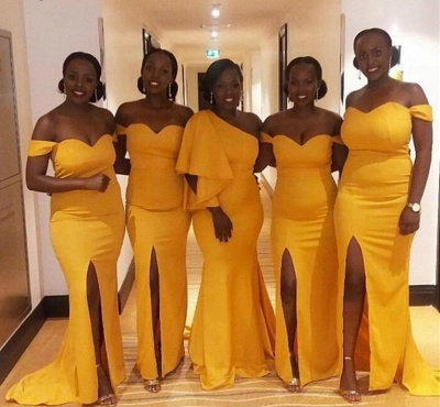 Yellow Off The Shoulder Sheath Bridesmaid Dresses | Bridesmaid Dresses With Slit_3