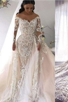 Gorgeous Long Sleeve Lace Mermaid Wedding Dresses | V Neck Wedding Gown With Detachable Train