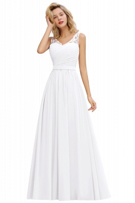 Cheap A-line Chiffon Lace V-Neck Ruffles Bridesmaid Dress in Stock_1