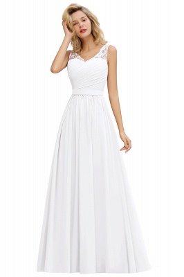 A-line Chiffon Lace V-Neck Ruffles Bridesmaid Dress_1