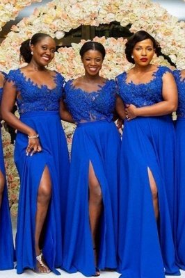 Royal Blue Straps A Line Bridesmaid Dresses | Applique Front Slit Prom Dresses