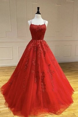 Modest Long Tulle Appliques Lace Backless A-line Prom Dress