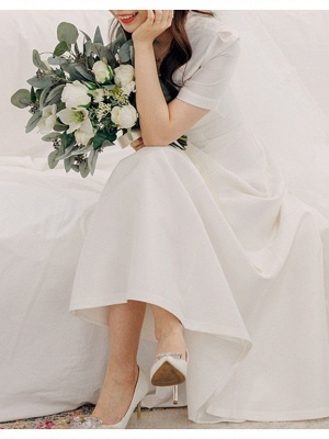 Vintage A-Line V Neck Satin Short Sleeves Wedding Dress with Sweep Train