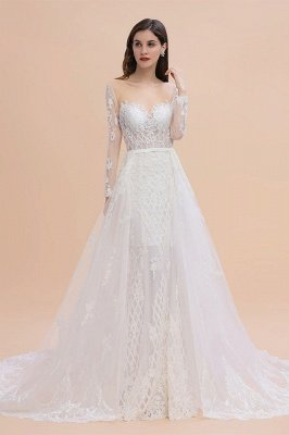 Long Sleeve Jewel Applique A Line Lace Wedding Dresses