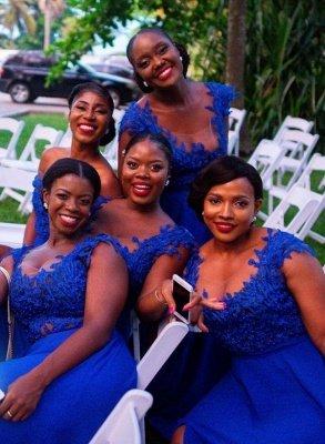 Straps Applique A Line Bridesmaid Dresses | Front Slit Beaded Party Dress_4