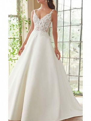 Chic A-Line Straps V-Neck Sleeveless Satin Lace Wedding Dress