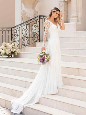 Romantic A-Line V Neck Chiffon Long Sleeve Wedding Dresses with Chapel Train_4