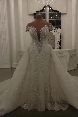 Luxury Sheer Jewel Cap Sleeve Applique Beading Mermaid Wedding Dresses With Detachable Skirt_1