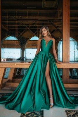 Gorgeous Long A-line V-neck Satin Sleeveless Prom Dress with Slit
