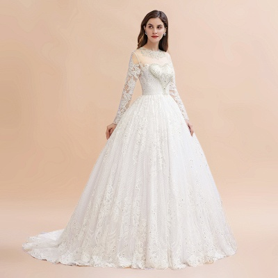 Long Sleeve Jewel Applique A Line Wedding Dresses | Crystal Wedding Gown_6