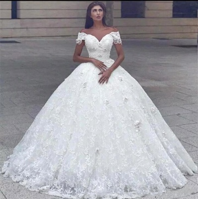 Luxury Off The Shoulder Lace Ball Gown Wedding Dresses   Sweetheart Bridal Gown_2