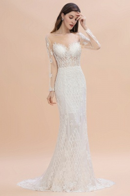 Long Sleeve Jewel Applique A Line Lace Wedding Dresses