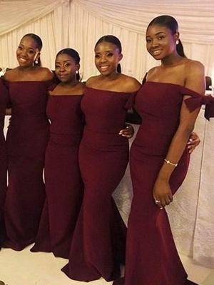 Burgundy Off The Shoulder Mermaid Bridesmaid Dresses | Floor Length Long Prom Dresses_2