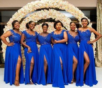 Royal Blue Straps A Line Bridesmaid Dresses | Applique Front Slit Prom Dresses_3