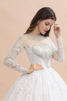 Long Sleeve Jewel Applique A Line Wedding Dresses | Crystal Wedding Gown_8