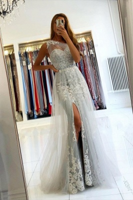 Unique Long One Shoulder Mermaid Prom Dress with Side Split Tulle Train