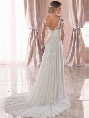 Romantic A-Line V Neck Chiffon Long Sleeve Wedding Dresses with Chapel Train_2