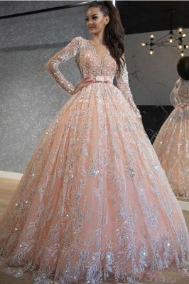 Pink Long Sleeve Jewel Applique Ball Gown Wedding Dresses