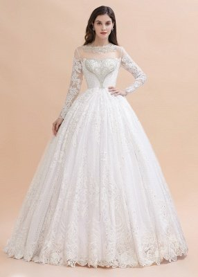 Long Sleeve Jewel Applique A Line Wedding Dresses | Crystal Wedding Gown