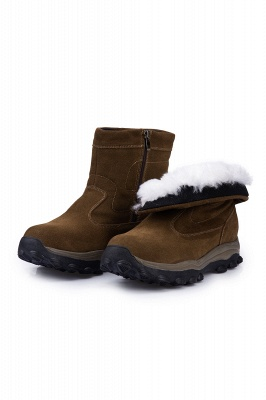 Winter Comfortable Outdoor Anti-Slip Suede Cotton Fur Lined Ankle Boots On Sale_9