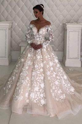 Elegant Off The Shoulder Champagne Tulle Lace A-Line Wedding Dresses_1