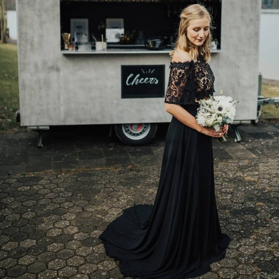 Glamorous Off The Shoulder Black Chiffon Lace Prom Dresses With Half Sleeves_3
