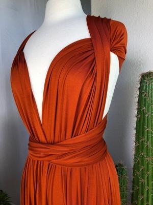 Orange Convertible Pleated Floor Length Sheath Bridesmaid Dresses_7