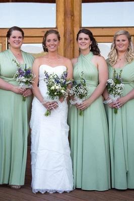 Pink Convertible Pleat Chiffon Floor Length Bridesmaid Dresses_2