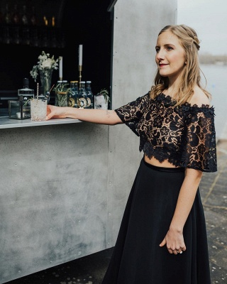 Glamorous Off The Shoulder Black Chiffon Lace Prom Dresses With Half Sleeves_4