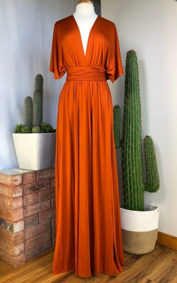 Orange Convertible Pleated Floor Length Sheath Bridesmaid Dresses_4