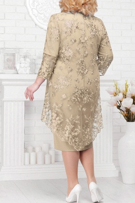 Tulle Lace 3/4 Sleeves Knee Length Mother of Bride Dress_8