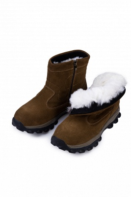 Winter Comfortable Outdoor Anti-Slip Suede Cotton Fur Lined Ankle Boots On Sale_10