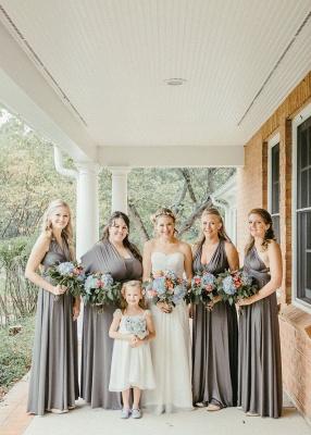 Gray Convertible Sheath Bridesmaid Dresses | Floor Length Party Dress_2