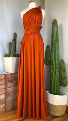 Orange Convertible Pleated Floor Length Sheath Bridesmaid Dresses_6