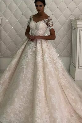 Gorgeous Short Sleeve Jewel A Line Wedding Dresses   Beaded Wedding Gown_1