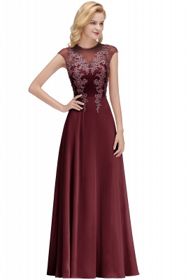 Cheap A-line Jewel Sleeveless Chiffon Tulle Lace Bridesmaid Dress in Stock_2