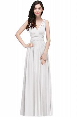 V-Neck Burgundy Ruched  A-line Evening Dresses_1