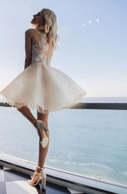 Jewel Applique Short Tiered A Line Wedding Dresses_2