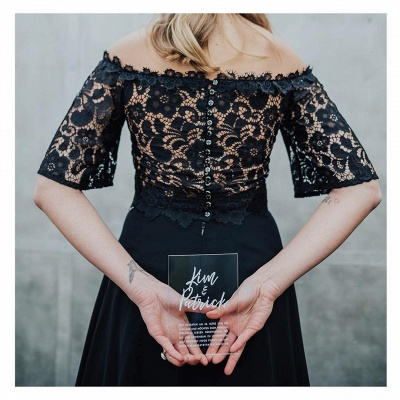 Glamorous Off The Shoulder Black Chiffon Lace Prom Dresses With Half Sleeves_2